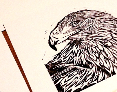 Golden Eagle Linocut