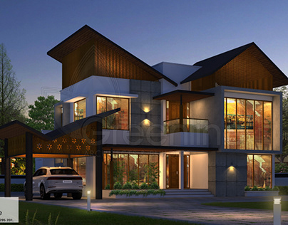 3530 sq-ft slanting roof 4 BHK house