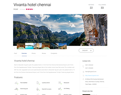 Hotels Page Design