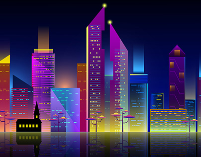 Horizontal city scape with colorful various buildings w