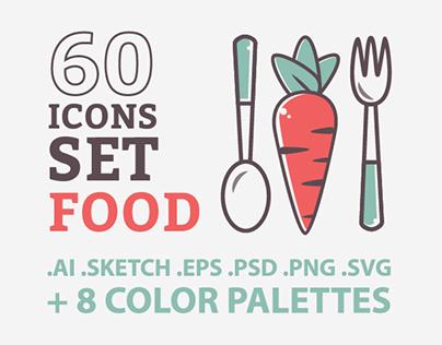 Illustration Food Icons Set