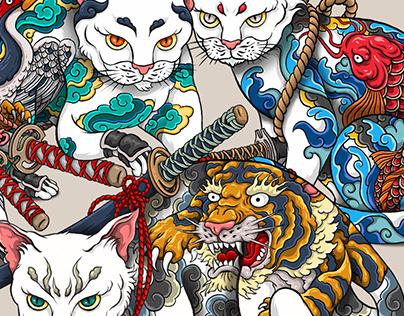Tattooed Samurai Cats