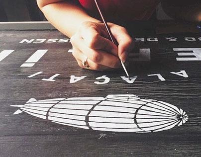 Sign-board for Zeplin Pub & Delicatessen / Alaçatı
