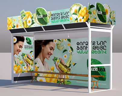 Fuze Tea Bus Stop branding