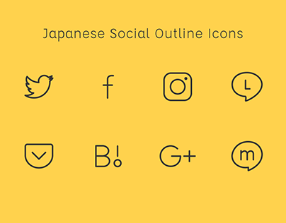 Japanese Social Outline Icons