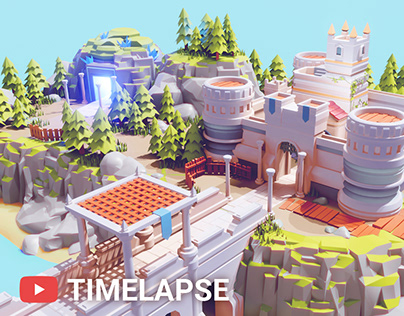 Timelapse Low Poly CASTLE on a CLIFF in Blender 2.90