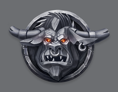 Stone Monsters Heads icons set