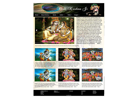 Proposed Web Mockup for a site dedicated to lord Krishn