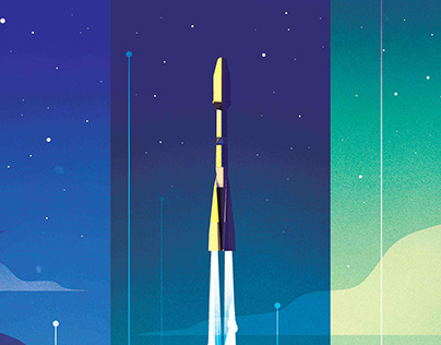 Rocket Launch Poster. Arianespace/Oneweb