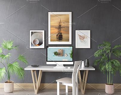 Desktop Screen And Frames Mock Up