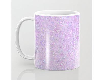 Pretty Pale Purple Flower Mandala Coffee Mug