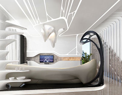 Digital interior design.Parametric style