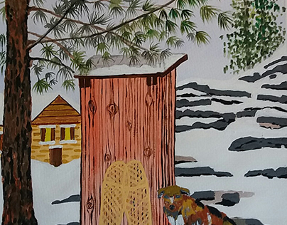 Dog and Outhouse