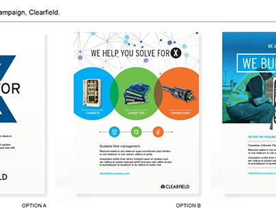 """Design and branding for """"X"""" campaign, Clearfield."""