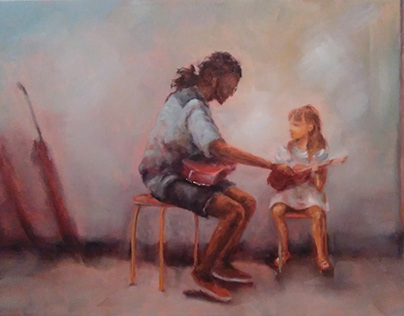 """""""Music lesson"""" oil on canvas"""