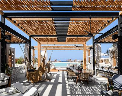 Mazeej White Hotel in Egypt designed by Reha, LLC.