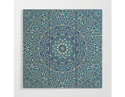Light Blue Floral Life Mandala Wood Wall Art