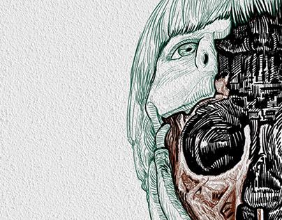 Westworld boy. Digital art.