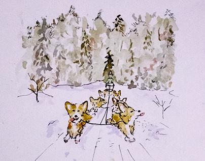 Corgi Sled Dog Team