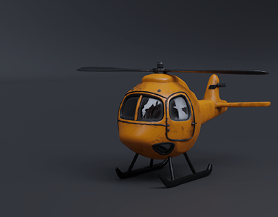 Low Poly Helicopter 3D Modeling and Texturing