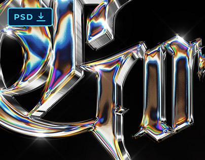 3D IRIDESCENT CHROME TEXT EFFECT [PSD]