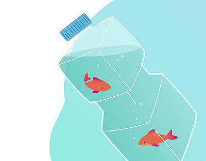 Ocean trash - illustration