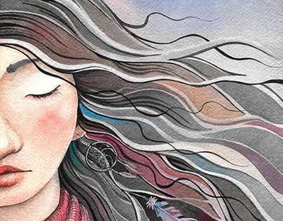 """Watrcolor illustrations for the book """"About One Girl"""""""