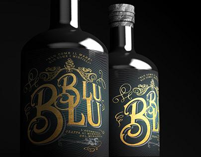 Blu blu grappa bottle label design.
