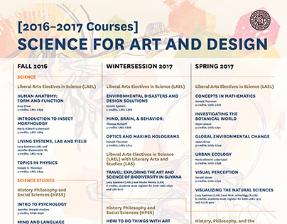 RISD Science for Art and Design: 2016–2017 Courses