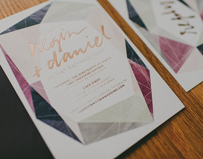 Watercolor Gems & Copper Foil - Wedding Invitation