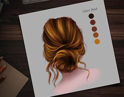 Digital Painting of hair
