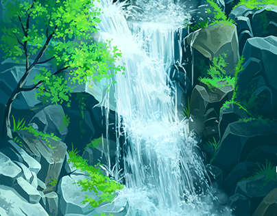 waterfall - digital painting