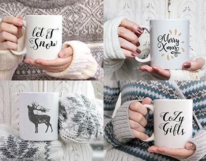 Winter Coffee Mug Mock-ups Bundle