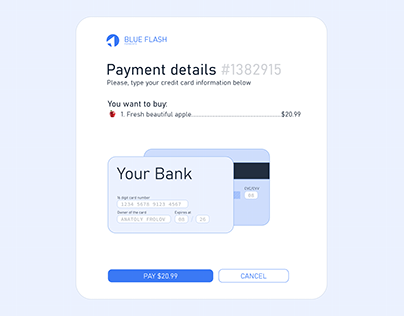 'Blue Flash' Card Checkout For #DailyUI Challenge - 002