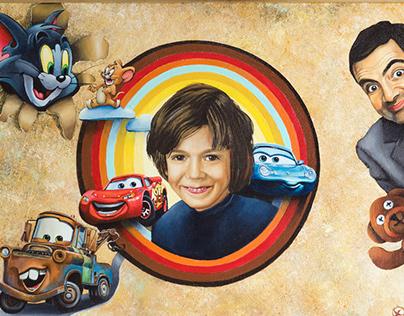Portrait of the boy. Arcilic on canvas.