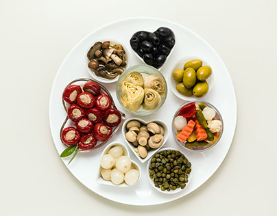 Italian traditional pickles on a plate.
