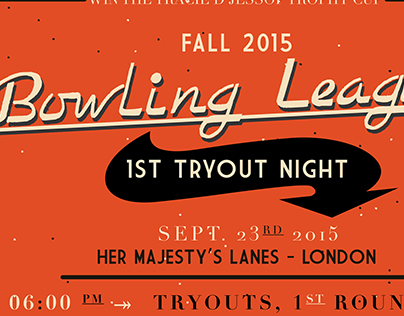 Bowling League Tryouts Poster