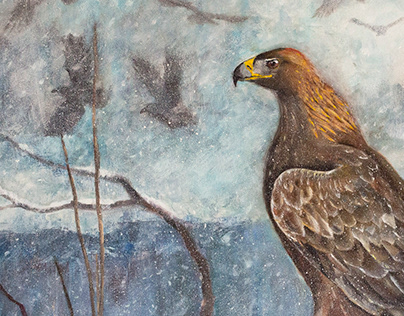The Lord of the winter forest. Aguila chrysaetos