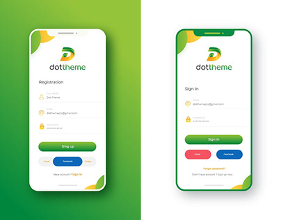 Mobile App Screen Design   Sing in & Sign up Screen