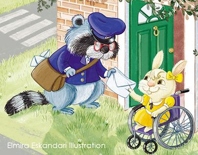 Mr Raccoon the postman & little Bunny