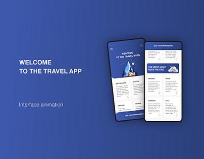 Travel app interface animation