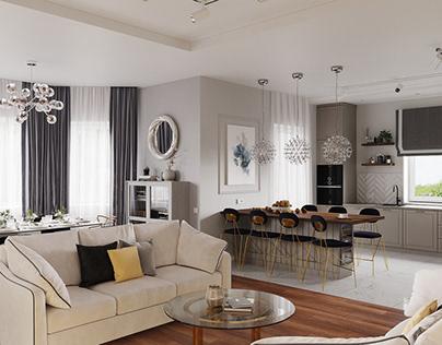 Дизайн кухни-гостиной частного дома