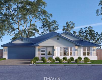 Home facade design 3d renderings