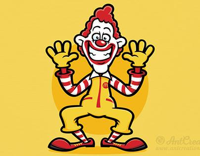 Ronald McDonald Cartoon Character Illustration
