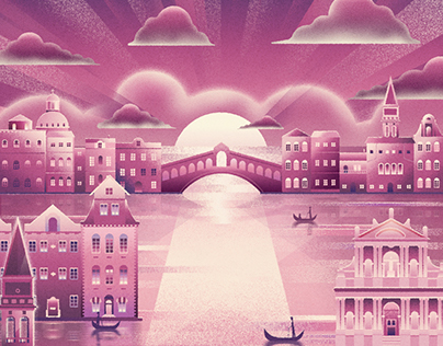 The llustration of city(purple)