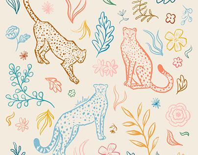Rainbow Cheetahs and Plants