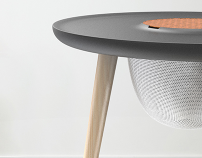 Contemporary Fabric Top Sidetable
