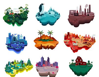 ISLANDS Illustration for Datawheel company