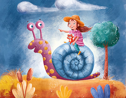 slow walking with the snail