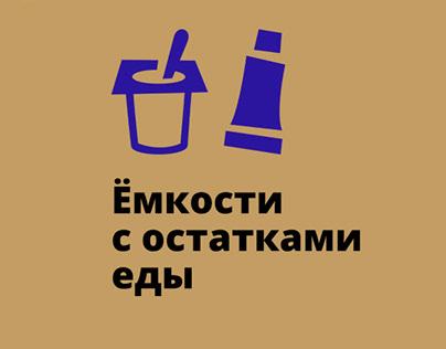 Плакат и наклейки на мусорные контейнеры